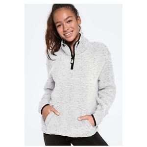 Victoria's Secret quarter zip Sherpa, grey. Sz XS